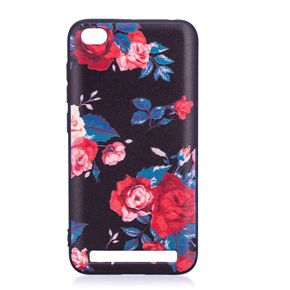Relief Silicone Case for Xiaomi Redmi 5A Red Flowers Pattern Soft TPU Protective Back Cover - RED