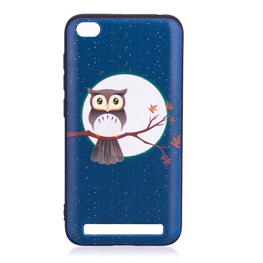 Relief Silicone Case for Xiaomi Redmi 5A Moon and Owl Pattern Soft TPU Protective Back Cover - BLUE