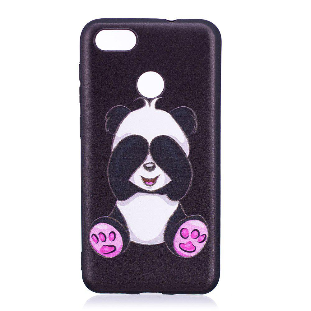 Relief Silicone Case for Huawei P9 Lite Mini / Y6 Pro 2017 Panda Pattern Soft TPU Protective Back Cover - BLACK