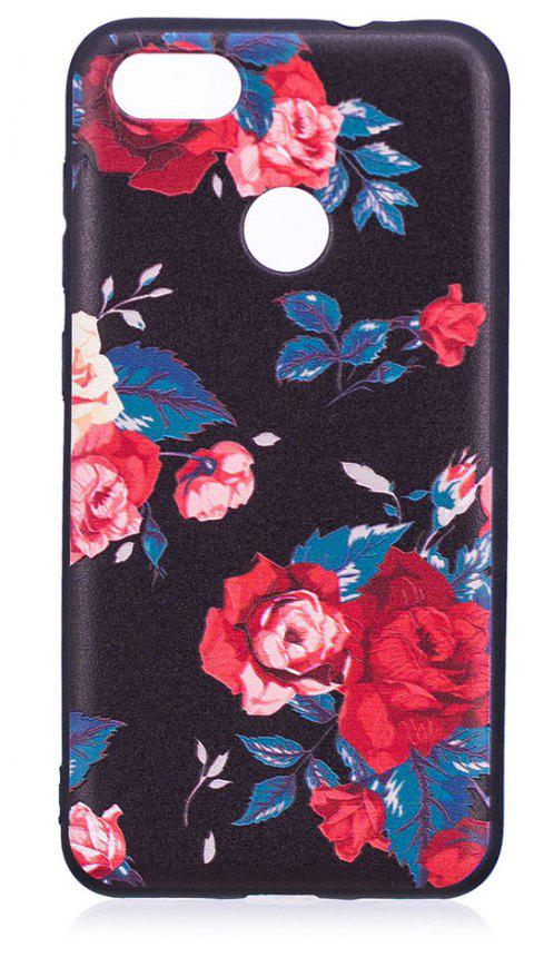 Relief Silicone Case for Huawei P9 Lite Mini / Y6 Pro 2017  Red Flowers Pattern Soft TPU Protective Back Cover - RED