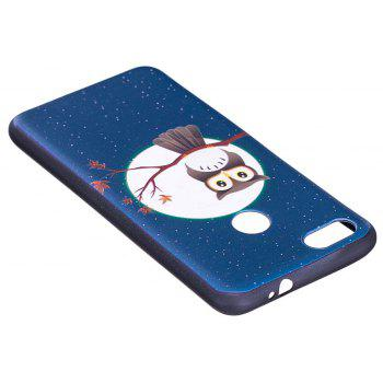 Relief Silicone Case for Huawei P9 Lite Mini / Y6 Pro 2017 Moon and Owl Pattern Soft TPU Protective Back Cover - BLUE