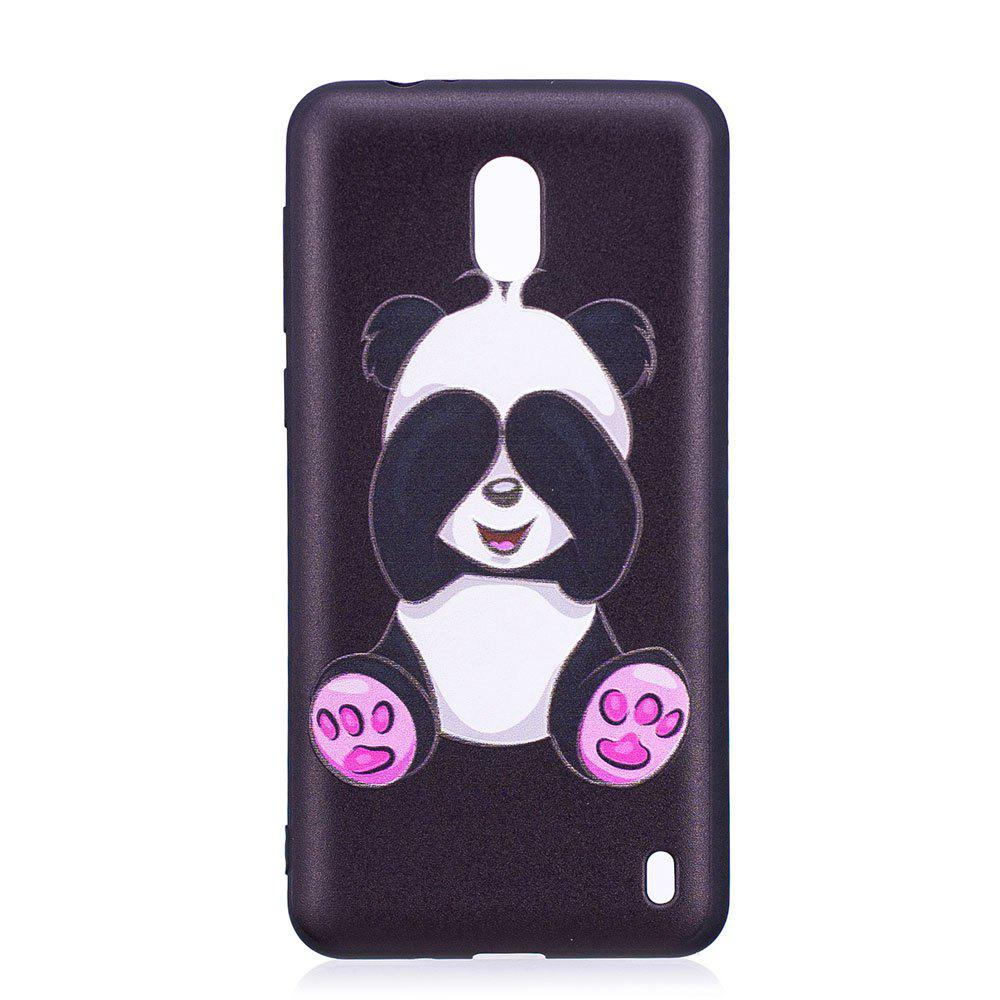 Relief Silicone Case for Nokia 2 Panda Pattern Soft TPU Protective Back Cover - BLACK