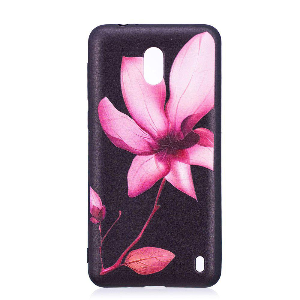 Relief Silicone Case for Nokia 2 Lotus Pattern Soft TPU Protective Back Cover - PINK