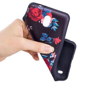 Relief Silicone Case for Nokia 2 Red Flowers Pattern Soft TPU Protective Back Cover - RED