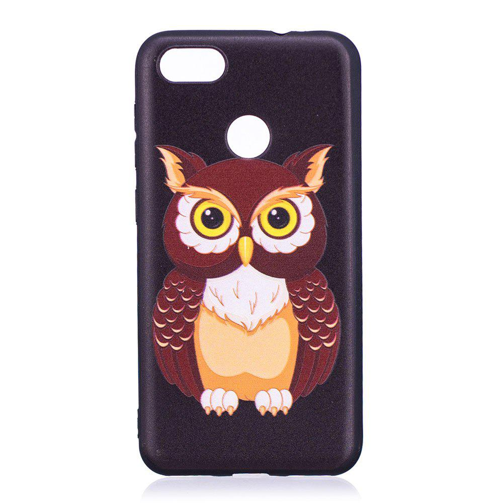 Relief Silicone Case for Huawei P9 Lite Mini / Y6 Pro 2017 Owl Pattern Soft TPU Protective Back Cover - BLACK