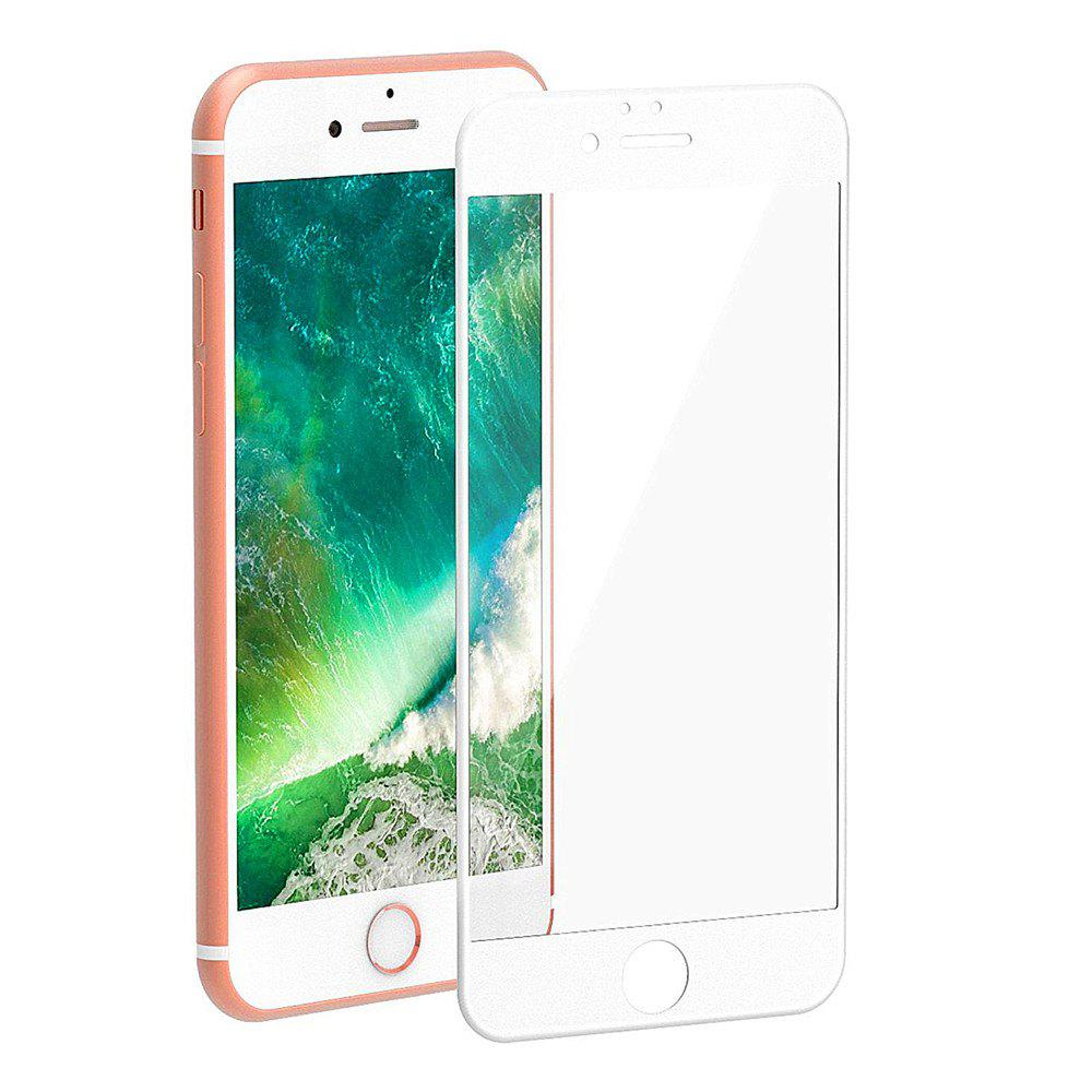 3D Round Curved Edge Tempered Glass for iPhone 8 Plus Full Cover Protective Premium Screen Protector Film - WHITE