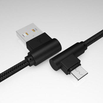 1M Android Micro Cable Charge for Samsung  Xiaomi 90 Degree Honor Huawei - BLACK