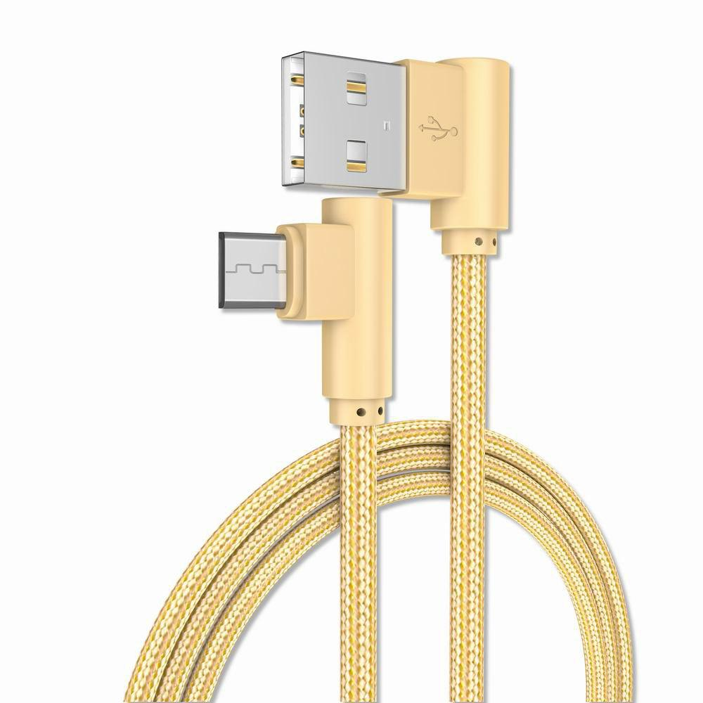 1M Android Micro Cable Charge for Samsung  Xiaomi 90 Degree Honor Huawei - GOLDEN