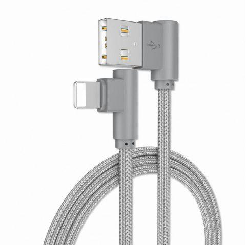 1M Charge iPhone 6/7/8/X 90 Degree Cable for ipad - GRAY