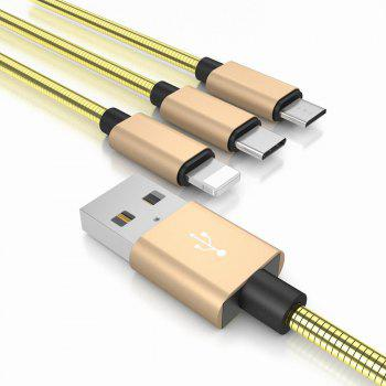 High Quality Wire 3 in 1 Spring and Charging Cable Usb for Android Micro+iPhone+Type-C Usb - GOLDEN