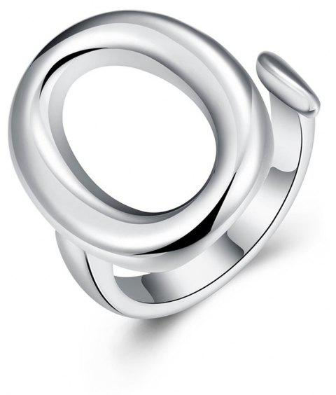 Adjustable Ellipse Silver Plated Ring - SILVER 8
