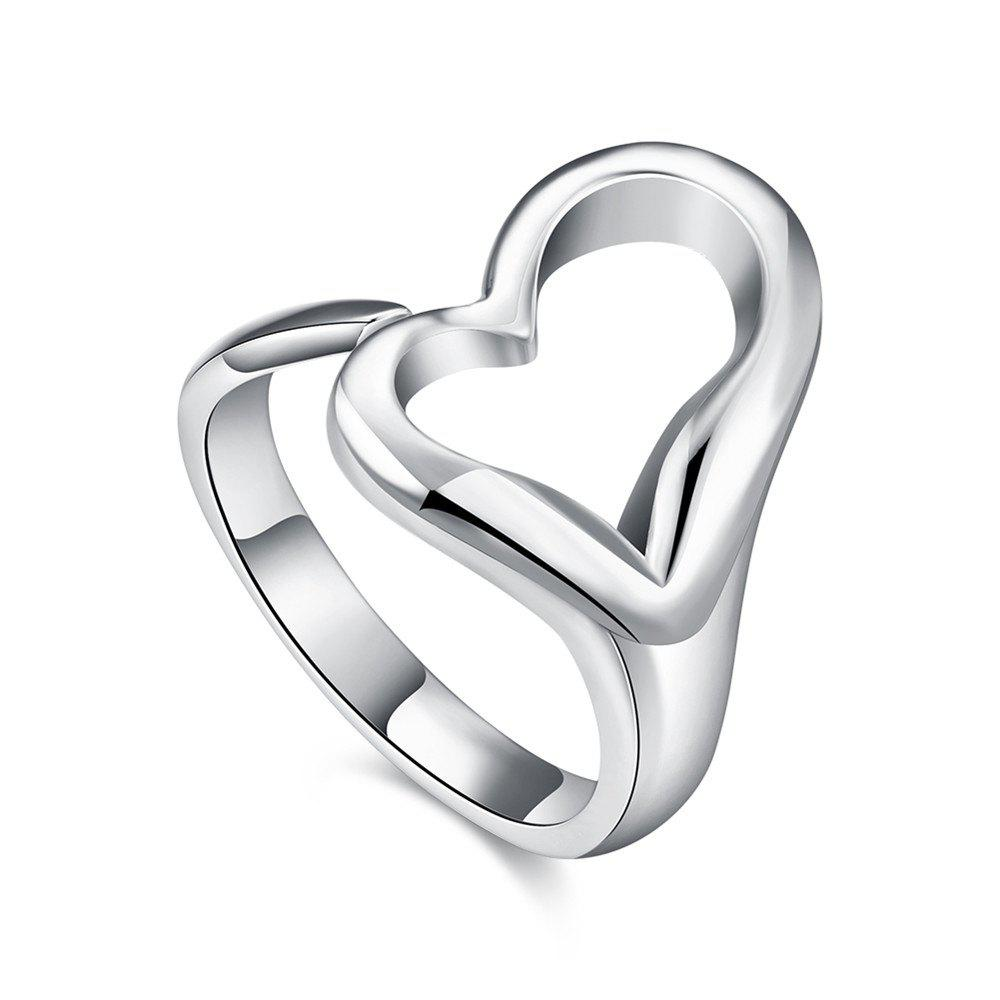 Adjustable Silver Plated Heart Shape Ring Charm Jewelry - SILVER 8