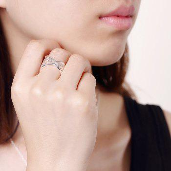 Adjustable Circular Opening Hollow Out Ring Charm Jewelry - SILVER 8
