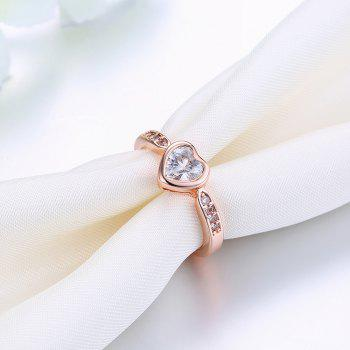 Fashion Heart Shape Zircon Ring Charm Jewelry Gift for Women - ROSE GOLD 6