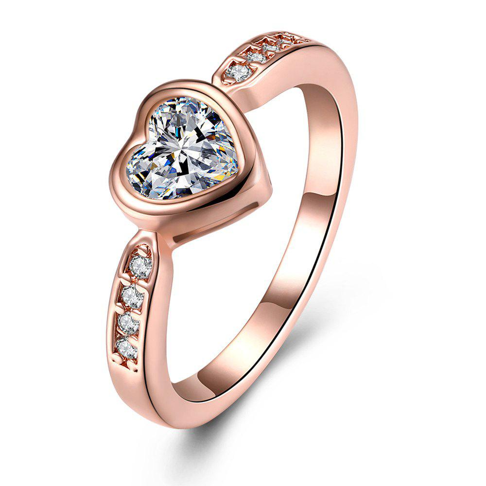 Fashion Heart Shape Zircon Ring Charm Jewelry Gift for Women - ROSE GOLD 9