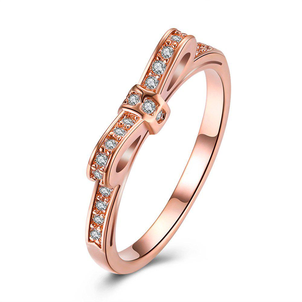 Creative Bowknot Shape Zircon Ring Charm Jewelry - ROSE GOLD 6