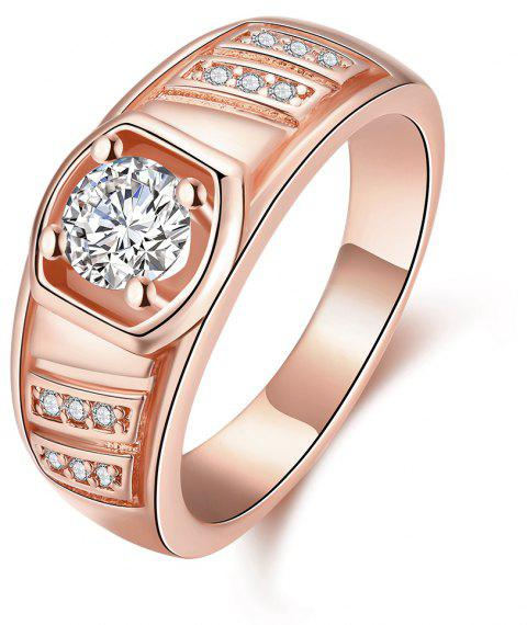 Elegant Geometric Zircon Ring Charm Jewelry Gift for Men - ROSE GOLD 9