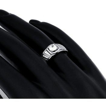 Elegant Geometric Zircon Ring Charm Jewelry Gift for Men - SILVER 9