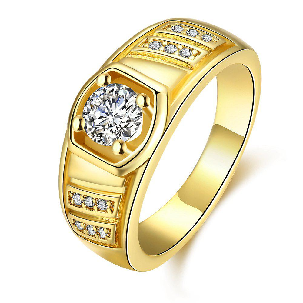 Elegant Geometric Zircon Ring Charm Jewelry Gift for Men - GOLDEN 9