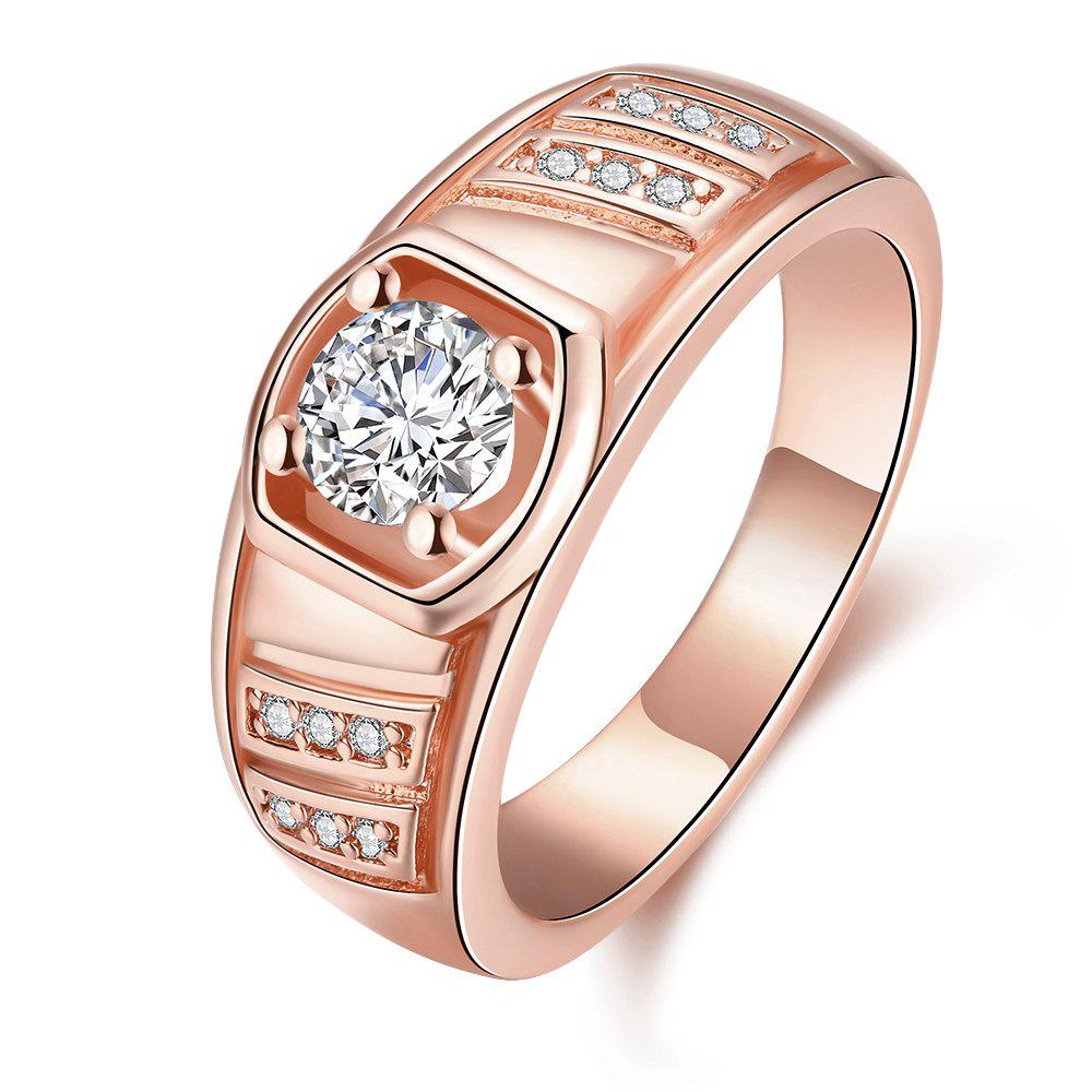 Elegant Geometric Zircon Ring Charm Jewelry Gift for Men - ROSE GOLD 8