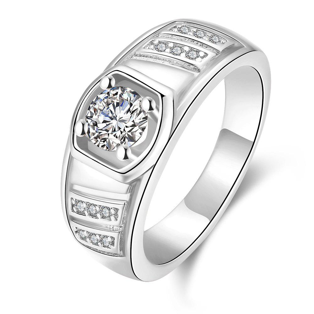 Elegant Geometric Zircon Ring Charm Jewelry Gift for Men - SILVER 8