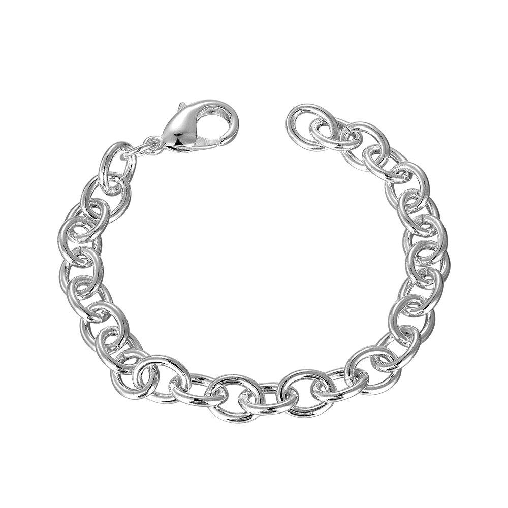 Adjustable Coarse Chain Bracelet Charm Jewelry Gift for Men - SILVER