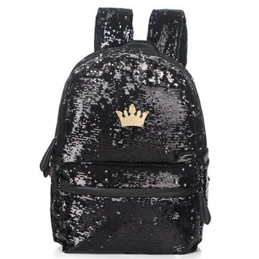 Fashionable New Style Of Double-shouldered Bright Piece  Female Bag - BLACK