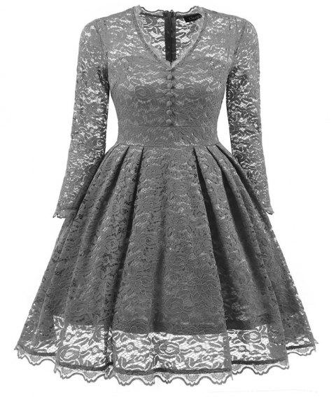 Women's Summer Robe Rockabilly Tunic Lace Evening Party Dress - GRAY XL