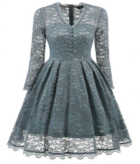 Women's Summer Robe Rockabilly Tunic Lace Evening Party Dress - STONE BLUE 2XL