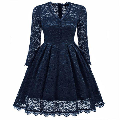 Women's Summer Robe Rockabilly Tunic Lace Evening Party Dress - NAVY BLUE L