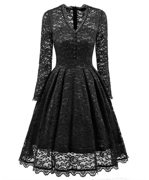 Women's Summer Robe Rockabilly Tunic Lace Evening Party Dress - BLACK M