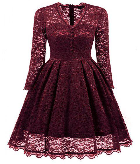 Women's Summer Robe Rockabilly Tunic Lace Evening Party Dress - WINE RED L