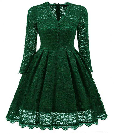 Women's Summer Robe Rockabilly Tunic Lace Evening Party Dress - GREEN XL