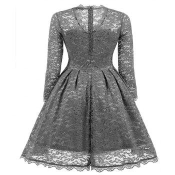 Women's Summer Robe Rockabilly Tunic Lace Evening Party Dress - GRAY S