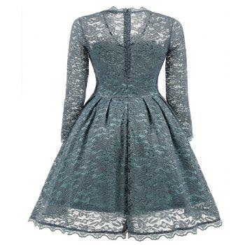 Women's Summer Robe Rockabilly Tunic Lace Evening Party Dress - STONE BLUE M