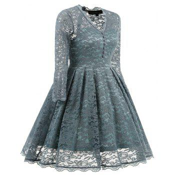 Women's Summer Robe Rockabilly Tunic Lace Evening Party Dress - STONE BLUE L
