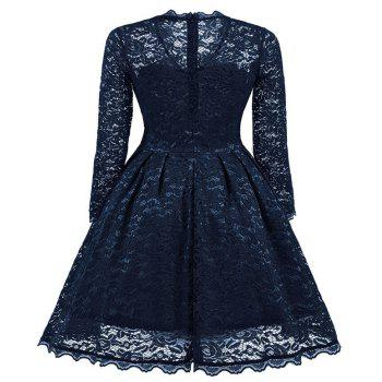 Women's Summer Robe Rockabilly Tunic Lace Evening Party Dress - NAVY BLUE S