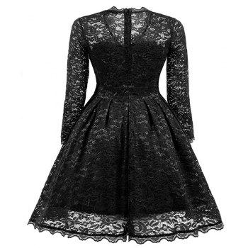Women's Summer Robe Rockabilly Tunic Lace Evening Party Dress - BLACK L