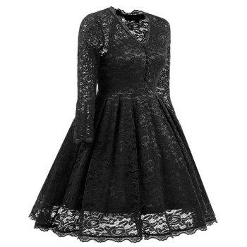 Women's Summer Robe Rockabilly Tunic Lace Evening Party Dress - BLACK 2XL