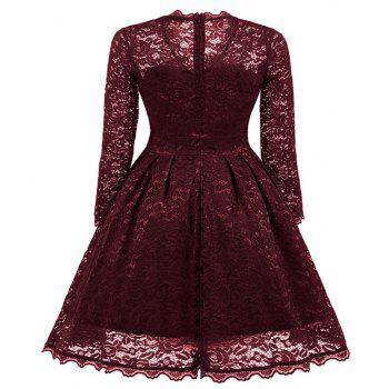 Women's Summer Robe Rockabilly Tunic Lace Evening Party Dress - WINE RED S