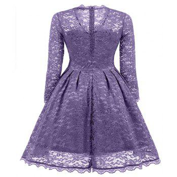 Women's Summer Robe Rockabilly Tunic Lace Evening Party Dress - PURPLE S