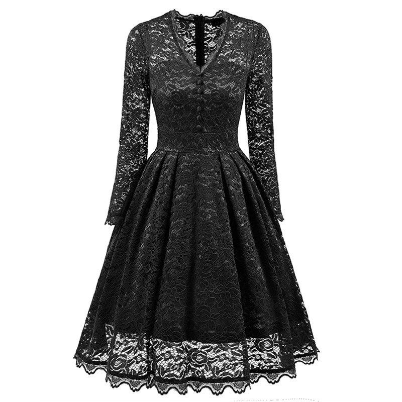 Women's Summer Robe Rockabilly Tunic Lace Evening Party Dress - BLACK S