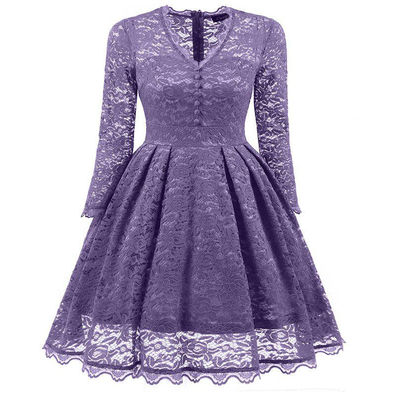 Women's Summer Robe Rockabilly Tunic Lace Evening Party Dress - PURPLE M