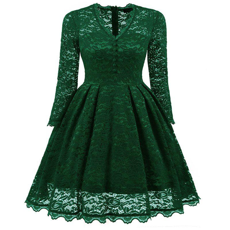 Women's Summer Robe Rockabilly Tunic Lace Evening Party Dress - GREEN M