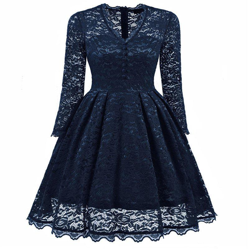 Women's Summer Robe Rockabilly Tunic Lace Evening Party Dress - NAVY BLUE XL