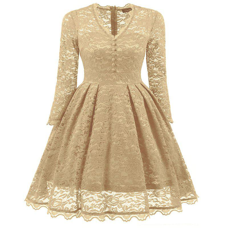 Women's Summer Robe Rockabilly Tunic Lace Evening Party Dress - BEIGE S