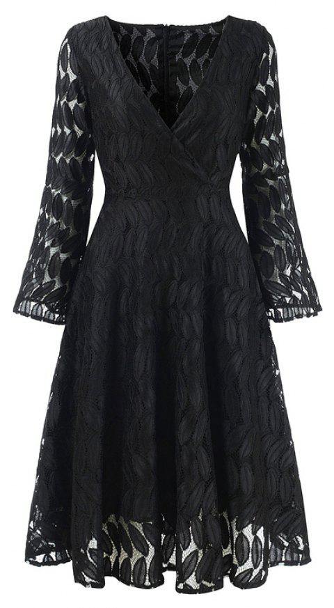 Women's Spring Hollow Out V-Neck Lace Sexy Party Dress - BLACK 2XL