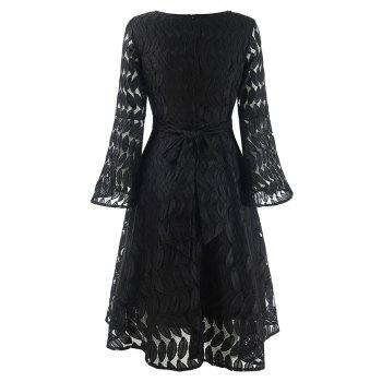 Women's Spring Hollow Out V-Neck Lace Sexy Party Dress - BLACK M