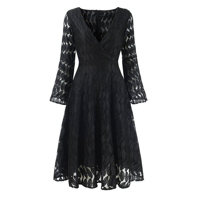 Women's Spring Hollow Out V-Neck Lace Sexy Party Dress - BLACK S