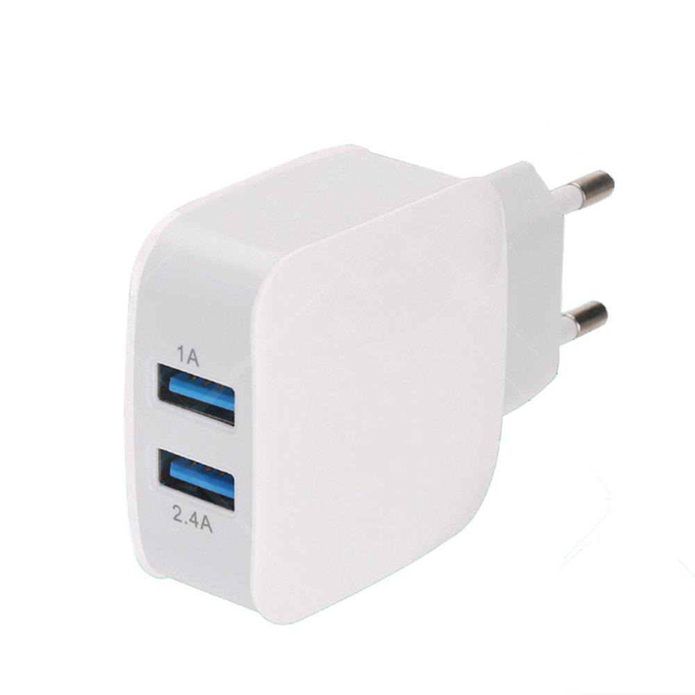 Dual USB Travel Quick Charger 2.4A Multi-Port for Apple Android Phone Universal - WHITE EU PLUG